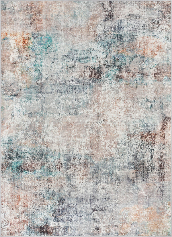 Amesti Machine Washable Contemporary Distressed Abstract Light Blue Flat-Weave Distressed Rug