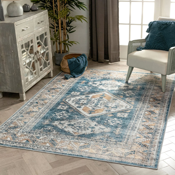 Habra Machine Washable Vintage Medallion Oriental Light Blue Flat-Weave Distressed Rug