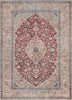 Tonti Machine Washable Vintage Medallion Oriental Red Flat-Weave Distressed Rug