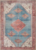 Towne Machine Washable Vintage Medallion Persian Terra Blue Flat-Weave Distressed Rug