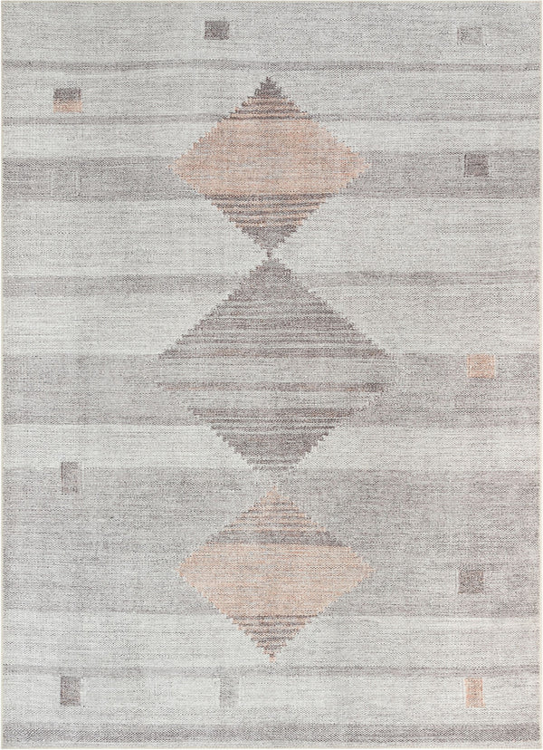 Argonne Machine Washable Vintage Southwestern Diamond Pattern Grey Flat-Weave Distressed Rug