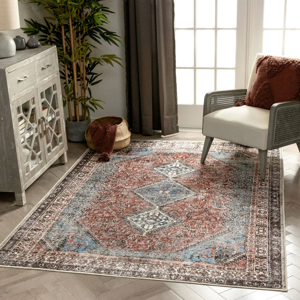 Menda Machine Washable Vintage Bohemian Medallion Oriental Blush Flat-Weave Distressed Rug