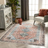 Menda Machine Washable Vintage Bohemian Meallion Oriental Light Blue Flat-Weave Distressed Rug