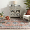 Menda Machine Washable Vintage Bohemian Medallion Oriental Light Blue Flat-Weave Distressed Rug