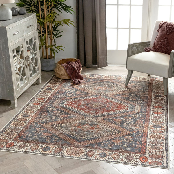 Ripon Machine Washable Vintage Medallion Botanical Border Blue Red Flat-Weave Distressed Rug