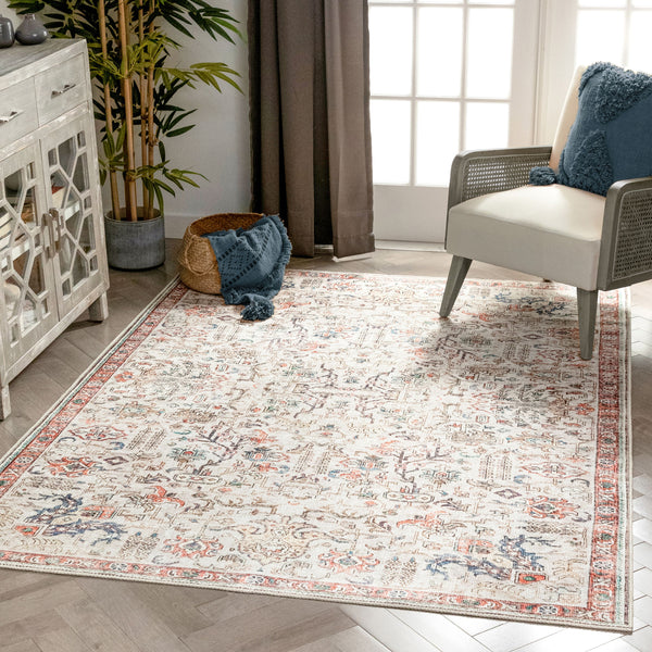 Pomona Machine Washable Vintage Medallion Botanical Border Ivory Flat-Weave Distressed Rug