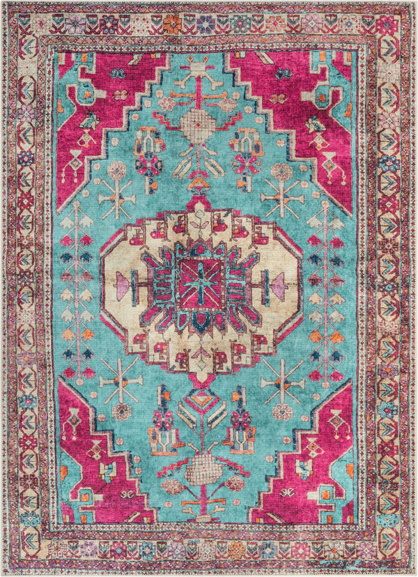 Shasta Machine Washable Vintage Bohemian Medallion Persian Blush Turquoise Flat-Weave Distressed Rug