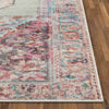 Ramon Machine Washable Vintage Persian Botanical Pink Pastel Green Flat-Weave Distressed Rug