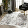 Arcata Machine Washable Contemporary Distressed Abstract Grey Flat-Weave Distressed Rug
