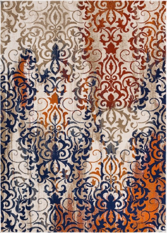 Damask Multi Modern Distressed Rug Well Woven