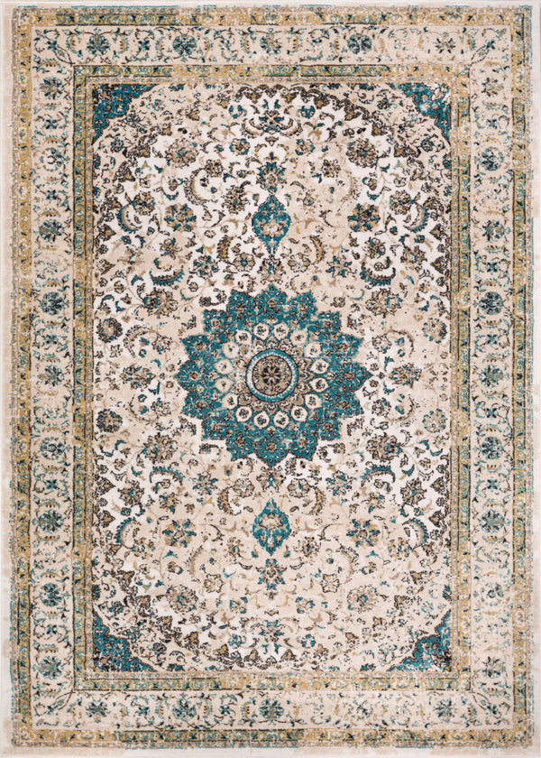 Mahal Beige Vintage Medallion Rug Well Woven