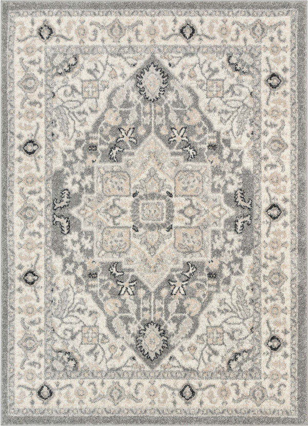 Forti Perisan Medallion Botanical Border Grey Rug