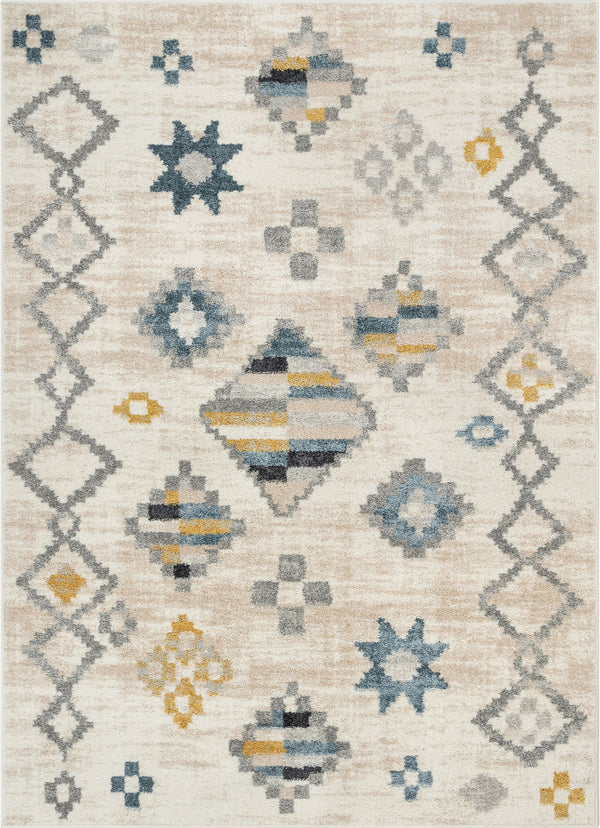 Duchess Moroccan Diamond Pattern Beige Blue Rug