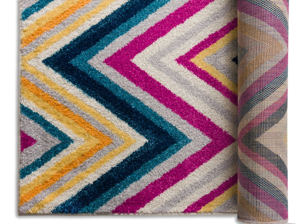 Soho Multi Mid Century Modern Chevron Geometric Rug Well