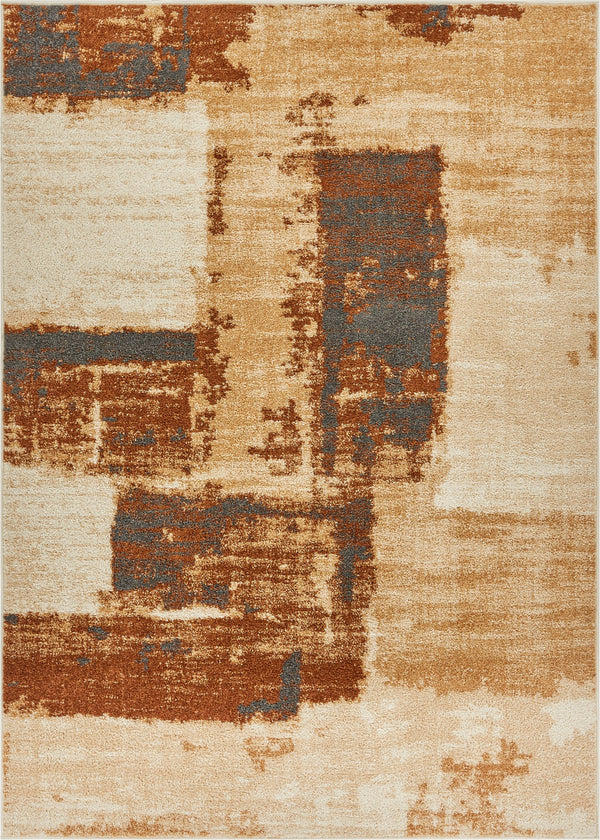 Central Park Brown Abstract Brushstrokes Rug