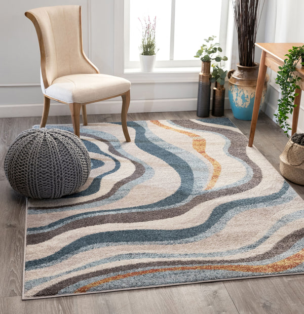 Flutter Modern Abstract Beige Rug
