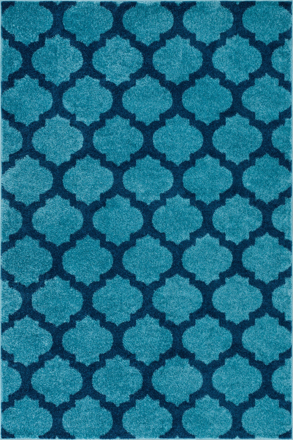 Zoe Light Blue Modern Trellis Rug