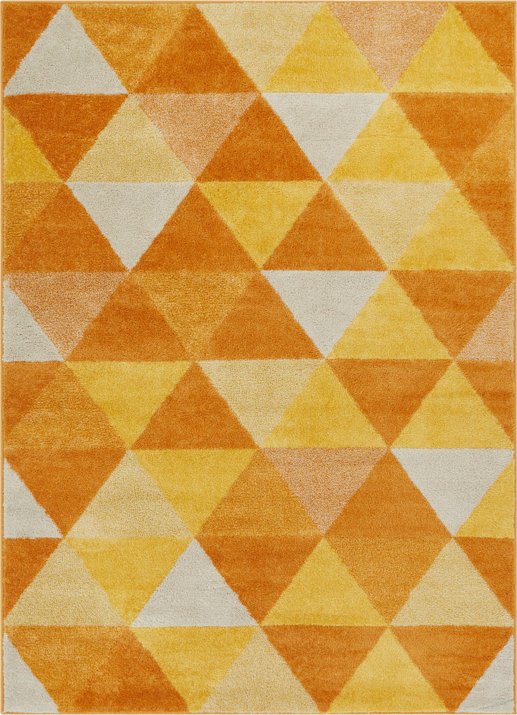 Alvin Orange Modern Geometric Rug Well Woven