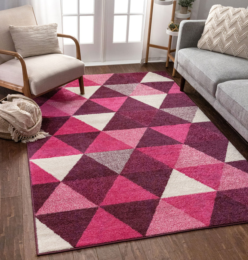 Alvin Purple Modern Geometric Rug