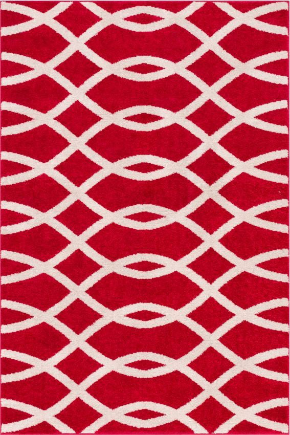 Poofy Red Moderm Trellis Rug