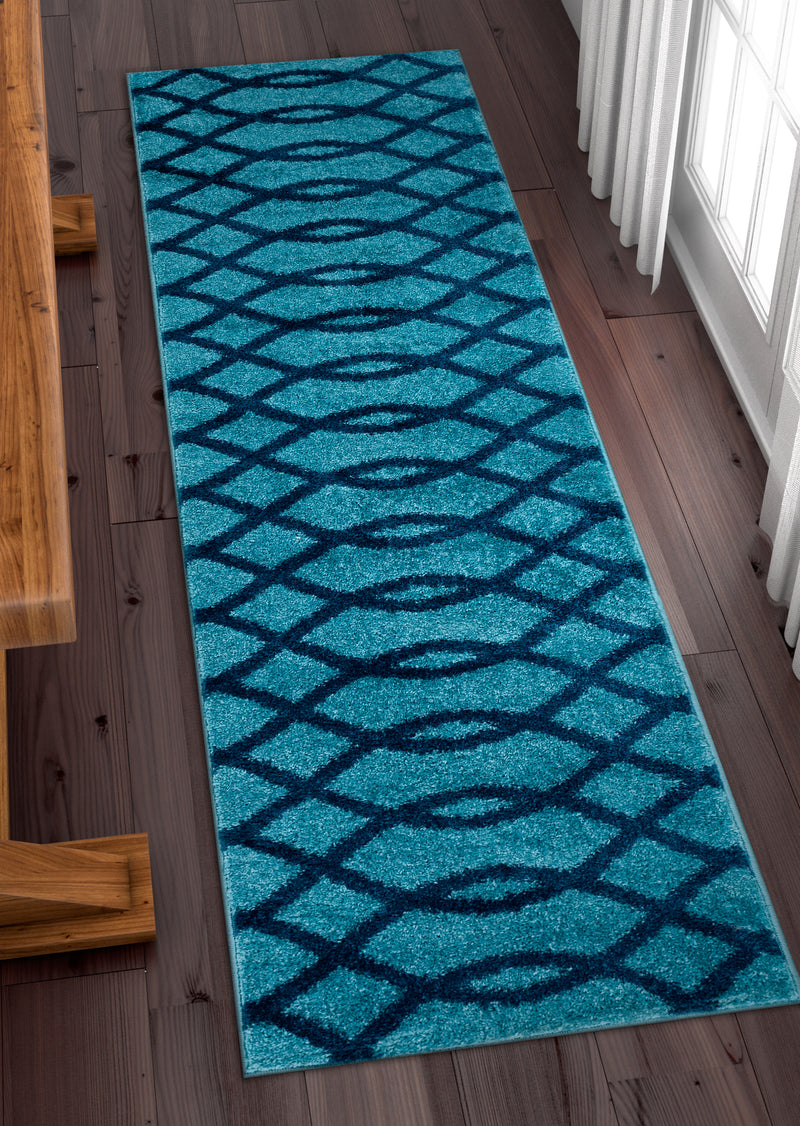 Poofy Light Blue Modern Trellis Rug