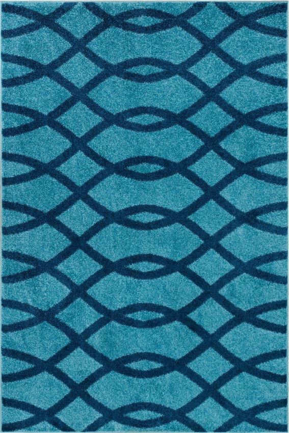 Poofy Light Blue Moderm Trellis Rug