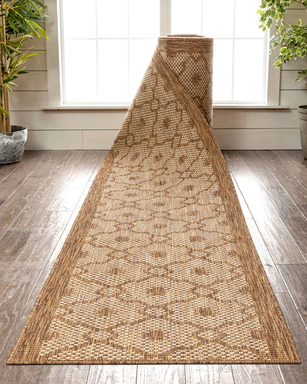Sol Custom Size Indoor/Outdoor Runner Lattice Trellis Brown 31 Inch Width x Choose Your Length Hallway Flat-Weave Runner Rug