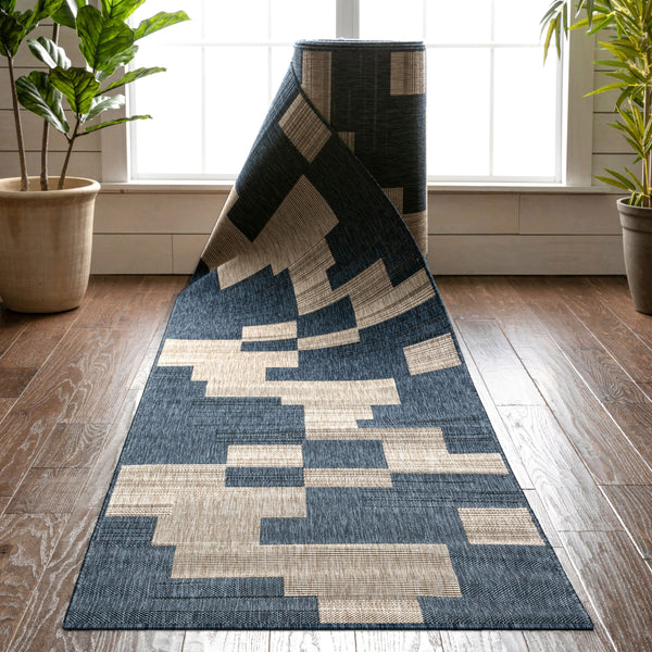 Thor Custom Size Indoor/Outdoor Runner Geometric Blue 31 Inch Width x Choose Your Length Hallway Flat-Weave Runner Rug