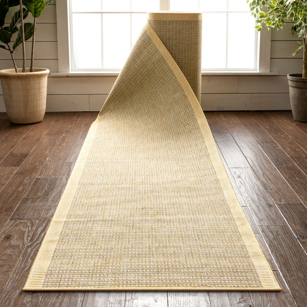 Odin Custom Size Indoor/Outdoor Runner Solid & Striped Yellow 31 Inch Width x Choose Your Length Hallway Flat-Weave Runner Rug