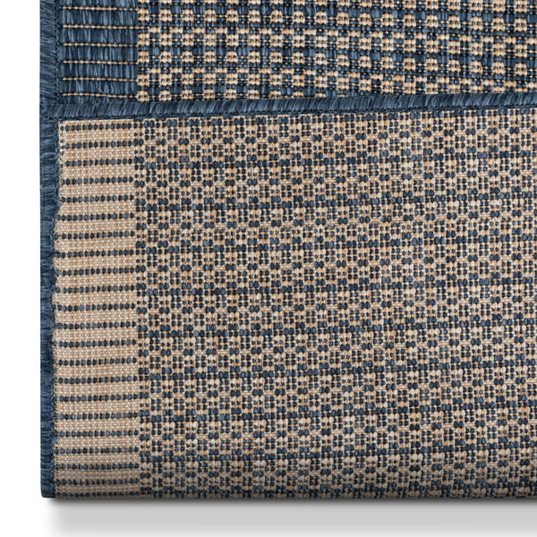 Odin Custom Size Indoor/Outdoor Runner Solid & Striped Blue 31 Inch Width x Choose Your Length Hallway Flat-Weave Runner Rug