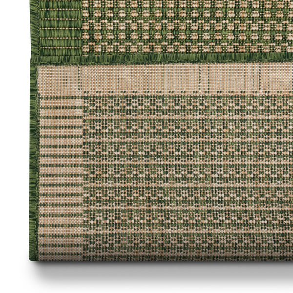 Odin Custom Size Indoor/Outdoor Runner Solid & Striped Green 31 Inch Width x Choose Your Length Hallway Flat-Weave Runner Rug