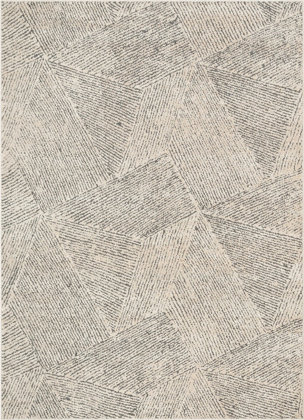 Enzo Tribal Geometric Lines Beige Distressed High-Low Rug