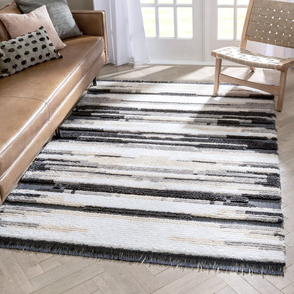Tiva Tribal Geometric Stripes Grey High-Low Textured Pile Rug