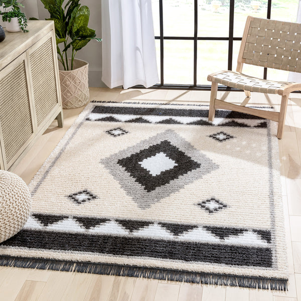Una Moroccan Diamond Medallion Pattern Grey High-Low Textured Pile Rug