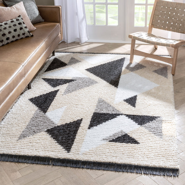Etenia Tribal Abstract Pattern Grey High-Low Textured Pile Rug