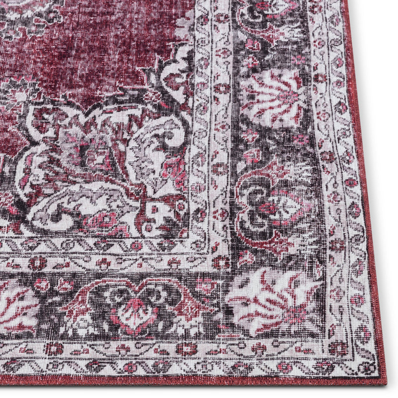 Tarifa Vintage Bohemian Medallion Red Machine Washable Rug By Chill Rugs
