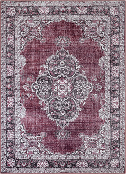 Tarifa Vintage Bohemian Medallion Red Machine Washable Rug