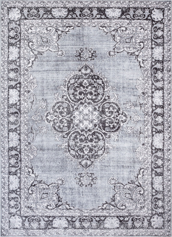 Tarifa Vintage Bohemian Medallion Grey Machine Washable Rug