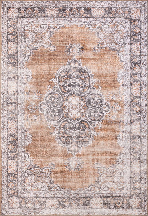 Tarifa Vintage Bohemian Medallion Rust Machine Washable Rug