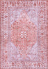 Gila Machine Washable Vintage Bohemian Medallion Oriental Red Flat-Weave Distressed Rug