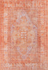Gila Machine Washable Vintage Bohemian Medallion Oriental Orange Flat-Weave Distressed Rug