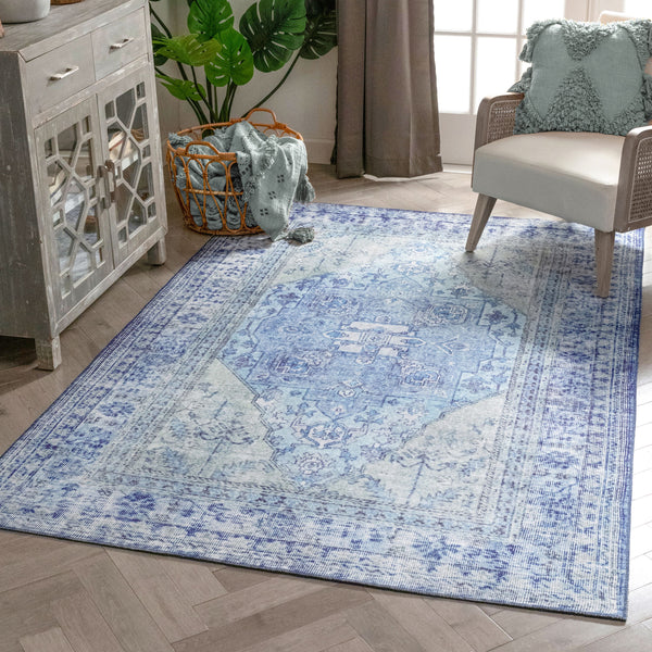 Gila Machine Washable Vintage Bohemian Medallion Oriental Dark Blue Flat-Weave Distressed Rug