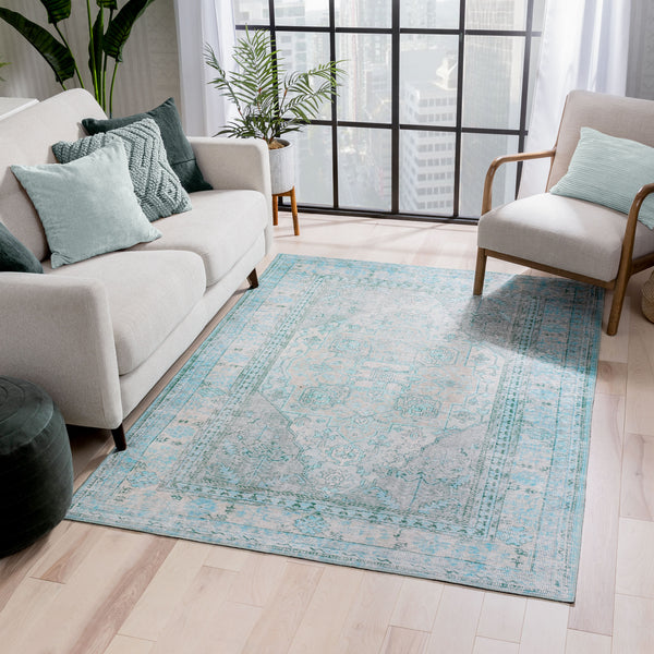 Gila Machine Washable Vintage Bohemian Medallion Oriental Green Flat-Weave Distressed Rug