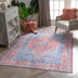 Gila Machine Washable Vintage Bohemian Medallion Oriental Blue Red Flat-Weave Distressed Rug