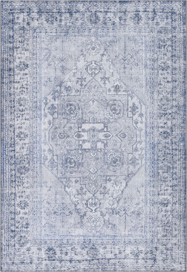 Gila Machine Washable Vintage Bohemian Medallion Oriental Grey Flat-Weave Distressed Rug