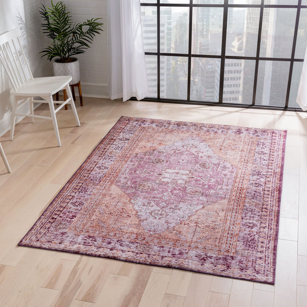 Gila Machine Washable Vintage Bohemian Medallion Oriental Purple Flat-Weave Distressed Rug
