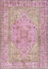 Gila Machine Washable Vintage Bohemian Medallion Oriental Pink Flat-Weave Distressed Rug