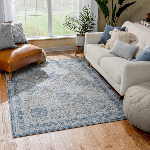 Abigail Blue Vintage Distressed Geometric Rug