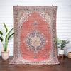 "Aylin Red & Blue Oriental Floral Medallion One-of-a-Kind Handmade Wool Area Rug 6'7"" x 10'6"""