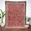 "Berna Red Persian Botanical Border Pattern One-of-a-Kind Handmade Wool Area Rug 6'10"" x 10'1"""